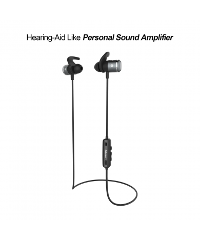 AMPSound Hearing-Aid Bluetooth Headphones - Silver