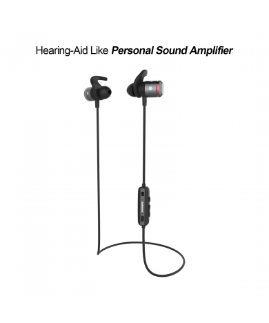 AMPSound Hearing-Aid Bluetooth Headphones - Red